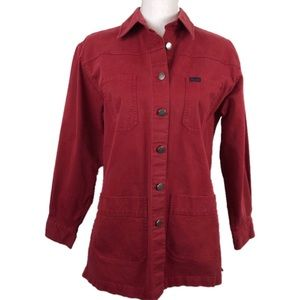Faconnable Women Button Front Shirt Red Stretch S